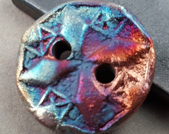 Round 2-hole handmade Raku Button