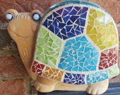 Smiling Happy Stained Glass Mosaic Turtle Vase