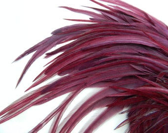 "12 BURGUNDY Feather Hair Extensions, THICK TAPERED Hair Feather Extensions, 5"" to 7"" Long"