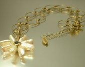 Estate/ vintage 1990s Hult Quist, gold tone, rhinestone and freshwater pearl necklace - jewelry jewellery