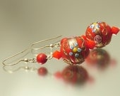 Vintage/ estate jewelry retro sterling silver earrings made from old red wedding cake glass beads - upcycled jewellery 925