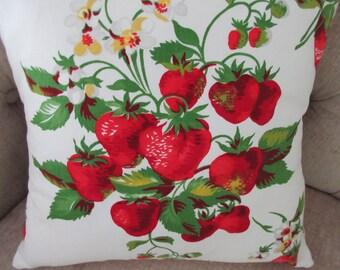 Repurposed Wilendur Strawberry Pillow Cover