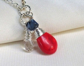 Red White and Blue Necklace, Wire Wrapped Gemstone Briolettes and Crystal Drop on Silver Diamond Box or Oval Link Chain
