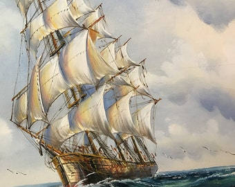 Very large, captivating and beautiful oil painting of a ship on the sea by Walton