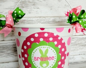 ON SALE custom personalized 10 QUART name bucket in pink and green