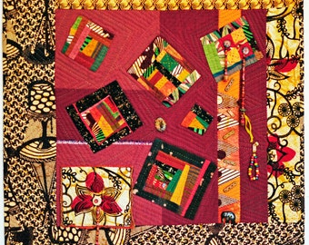 Art Quilt, Wall Quilt, African Quilt, Beaded Quilt