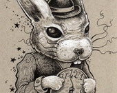 White Rabbit Alice in Wonderland original ink and pencil drawing by Bryan Collins