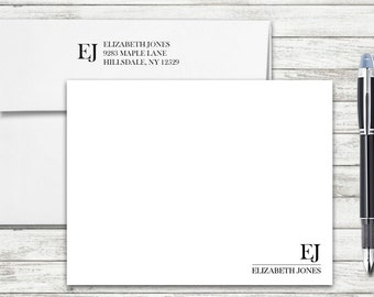 Corner Monogram Personalized Flat Note Cards - Set of 25