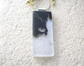 Slim Black Cat, Cat Necklace, Dichroic Necklace, Dichroic Jewelry, Fused Glass Jewelry, Necklace Included,Black White Pendant, 073116p103