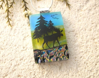 Moose Necklace, Moose Jewelry, Dichroic Glass Jewelry, Fused Glass Jewelry, Dichroic Necklace, Silver Necklace, Moose Necklace,  020215p105