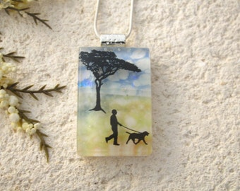 Dog Necklace, Dichroic Glass Jewelry, Dichroic Pendant, Dog In Park, Fused Glass Jewelry, Necklace, Glass Jewelry Dog Walking, 121315p105