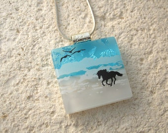 Horse Necklace, Dichroic Necklace, Horse on Beach, Dichroic Jewelry, Fused Glass Jewelry, Beach Jewelry,Horse & Rider Jewelry,   122215p103