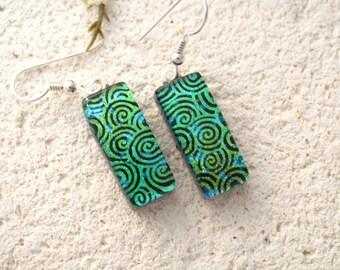 Green Earrings, Dichroic Glass Earrings, Dichroic Fused Glass Jewelry, Dichroic Jewelry, Dangle Drop Earrings,Silver or Gold Wire 011616e107