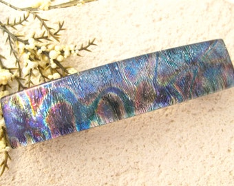 Blue Pink Gold Barrette, Hair Barrette, French Barrette, Fused Glass Barrette, Large Barrette, Fused Glass Jewelry, 80mm  011716ba108