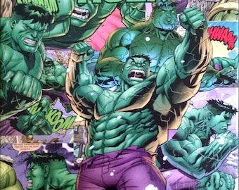 "HULK - 11""x14"" - Decoupage Comic Canvas"