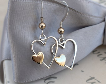 Sterling and brass heart earrings - Sterling Silver earwires with gold filled accents