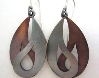 Silver and Copper Dangling Earrings, Yin Yang Earrings, Paisley Earrings, Bimetal Earrings