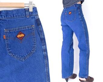 "Sz 10 70s Levis High Waisted Orange Tab Women's Jeans - Vintage High Rise Wide Straight Leg Dark Rinse Mom Jeans - 30"" Waist"