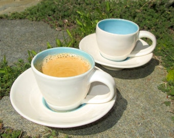 Set of Two Espresso Cups and Saucers in Shades of Turquoise