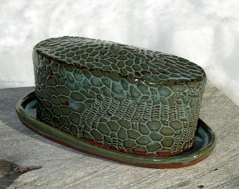 Handmade Butter Dish with Alligator Texture in Army Green