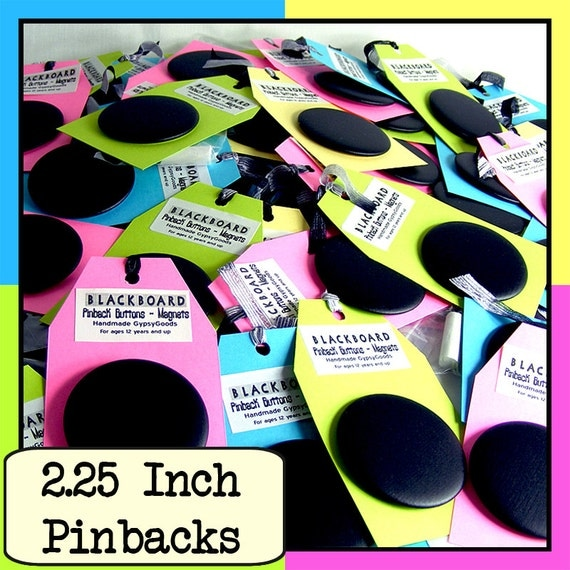 2.25 in. (6) Blackboard Chalkboard BUTTONS Set of (6) SIX 2.25inch Pinback Blackboard Buttons