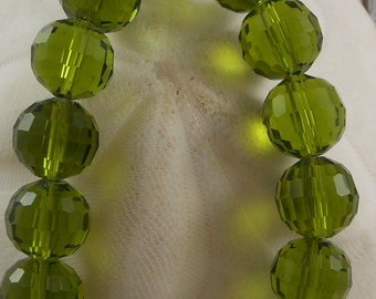 Crystal Beads 12mm Faceted Round Disco Balls Olive (Qty 6) PH-DB12-OLV