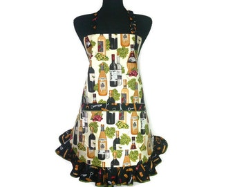 Wine Bottle Apron with Ruffle and Pocket, Fully Adjustable with Corkscrew Trim, Vinyard Kitchen Decor, Retro Kitchen Apron