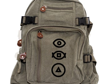 Backpack, Geometric, Canvas Backpack, Camera Bag, Laptop Backpack, Eye Symbol, Lightweight Bag, Hipster, Mens Gift, Medium Control Backpacks