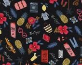 Cotton + Steel Les Fleurs - bon voyage - black metallic - 50cm - PRESALE