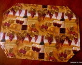 Quilted Placemats, Reversible, Wine Bottles & Glasses of Wine, Grapes, Reverse Side-Wine Bottles and Glasses of wine, Handmade Table linens