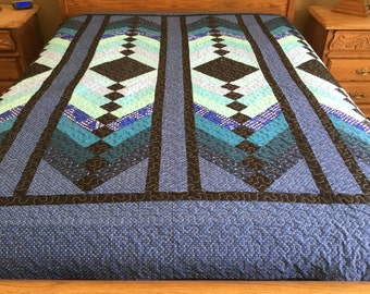 Ca King size French Braid Patchwork Machine Quilt #Yp0164