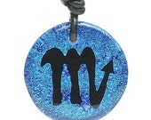 Zodiac Necklace Scorpio Sign Blue Dichroic Glass Pendant with Black leather cord by zulasurfing