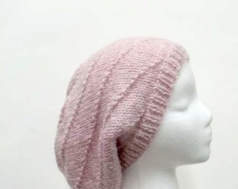 Knitted pink slouch hat in swirl pattern.  Large size  5105