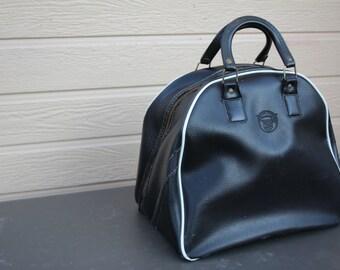 VINTAGE Richard Milton brand black BOWLING ball BAG