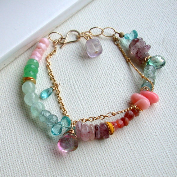 Outlet Sale. Sunset Ocean Bracelet. Mixed Gemstone Bracelet. Gemstone Bracelet.