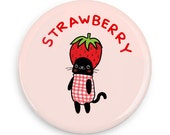 Strawberry Kawaii Cat Cute Magnet Mirror or Pinback Button Pin Badge