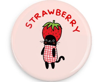 Cute Pinback Button Strawberry Cat Kawaii Cute Cat Pin Game Flair Pink Pin Back Button Pin Badges Refrigerator Magnets