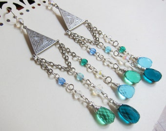 Aphrodite of the Waves - Antique silver, crystal, and teal blue hydro quartz chandelier earrings