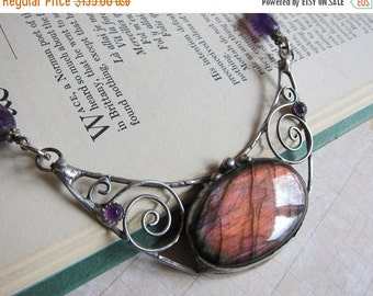 Sale - Lunula II -Magical Purple Labradorite and Amethyst Crescent Moon Necklace