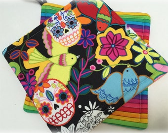 Double Insulated Colorful Rainbow Sugar Skulls Pot Holder Gift Set. Dia de Los Muertos .