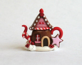 Handmade Miniature Fairy Whimsy Christmas Gingerbread House Teapot by C. Rohal