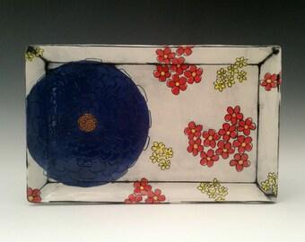 Ceramic Square Tray with Multi Colored Blossoms