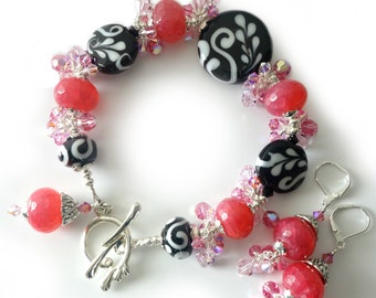 Lampwork Bracelet and Earrings, Black and White, Pink Agate, Strawberry, Rose, Silver Beaded Jewelry, Two Piece Set, Crystals, One of a Kind