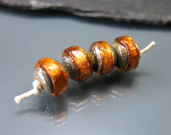 Made to order Handmade Lampwork Nugget Beads by GlassBeadArt … Light bronze Sparkling Rocks ... SRA F12 ... 10x12mm