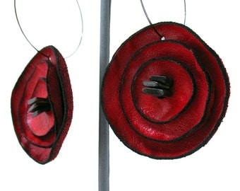 Red Curled Flower Leather Hoop Earrings with MOP Shell Slabs, Women, Teen Girl, Eco Friendly, Recycled, Unique, OOAK
