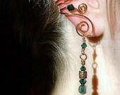 ON SALE Ear Cuff Celtic Spirals Copper Green Irish, No Piercing Ear Cuff Earrings