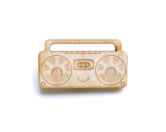 Stereo - Wooden Badge / Pin / Brooch