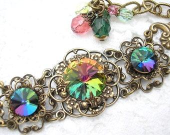 Over the Rainbow - Vitrail Glass Bracelet Antiqued Brass Ox Bracelet Victorian Style Jewelry