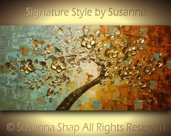 Gold Cherry Blossom Tree Painting Large ORIGINAL Bonsai Abstract Wall Art Textured Modern Palette Knife Landscape Painting by Susanna