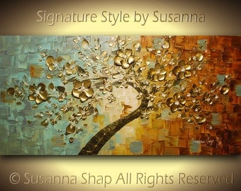 ORIGINAL cherry blossom gold tree painting large bonsai abstract wall art textured modern palette knife landscape painting by susanna